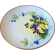 """Outstanding JR Hutschenreuther Selb Bavaria Vintage 1900's Hand Painted """"Blueberry"""" Plate by the Artist, """"Steve"""""""