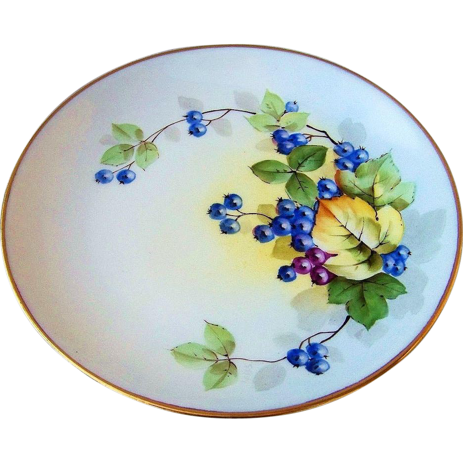"Outstanding JR Hutschenreuther Selb Bavaria Vintage 1900's Hand Painted ""Blueberry"" Plate by the Artist, ""Steve"""