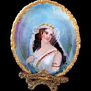 "Jean Pouyat Limoges France 1900 Hand Painted Portrait ""Victorian Woman in Wedding Dress"" Plaque"