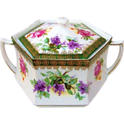 """Gorgeous RS Prussia 1900's """"Lilac & Roses"""" 6-Sided Cracker Jar"""