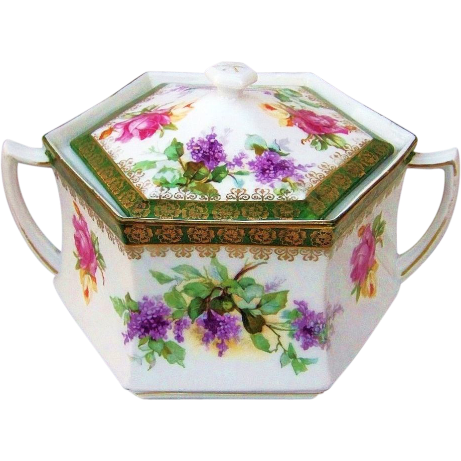 "Gorgeous RS Prussia 1900's ""Lilac & Roses"" 6-Sided Cracker Jar"