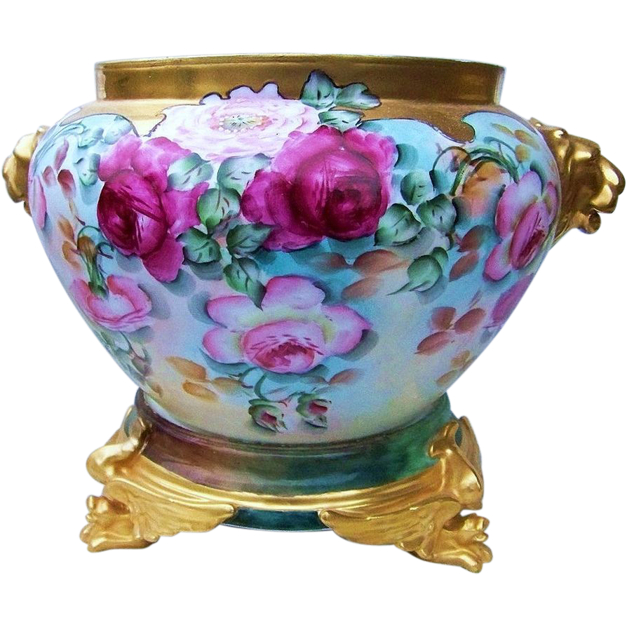 "Gorgeous Vienna Austria 1900's Hand Painted Vibrant ""Red & Pink Roses & Burnt Orange & White Poppies"" Heavy Gold Lion Handle Jardiniere by the Artist, ""L. Davitz"""