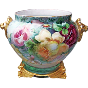 "Spectacular Vintage D & Co. France Limoges 1900's Hand Painted ""Red, Pink, & Yellow Roses"" Large Lion Handle Jardiniere"