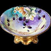 "Gorgeous Bavaria 1900's Hand Painted ""Blackberry"" Pedestal Fruit Bowl"