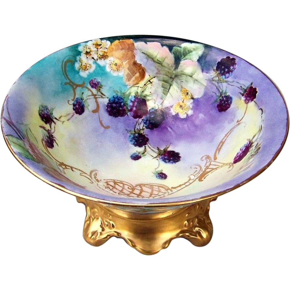 "Gorgeous Bavaria 1900's Hand Painted ""Blackberry"" Pedestal Fruit Bowl"