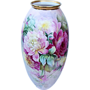 """19-1/2"""" Fabulous Lenox Belleek 1914 Hand Painted Vibrant """"Red, Pink, & White Peonies"""" Floral Floor Vase by Listed Chicago Artist, """"R. Scholz"""""""