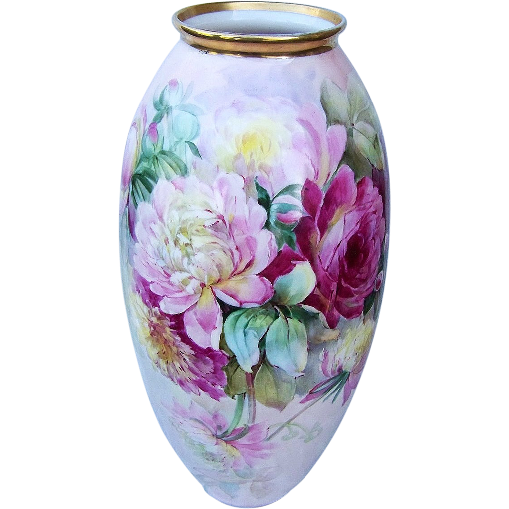"19-1/2"" Fabulous Lenox Belleek 1914 Hand Painted Vibrant ""Red, Pink, & White Peonies"" Floral Floor Vase by Listed Chicago Artist, ""R. Scholz"""