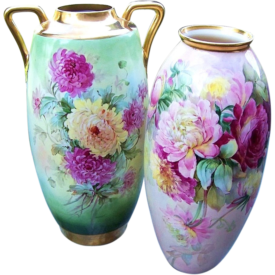 "20-1/2"" Royal Austria 1900's Vibrant Hand Painted ""Red, Yellow, & White Mums"" Outstanding Floral Floor Vase"