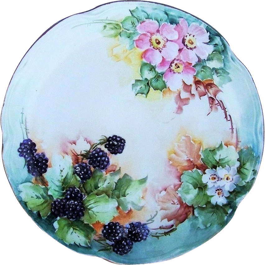 "Beautiful Limoges France 1900's Hand Painted ""Blackberry & Wild Pink & White Roses"" 10"" Floral & Berry Plate"