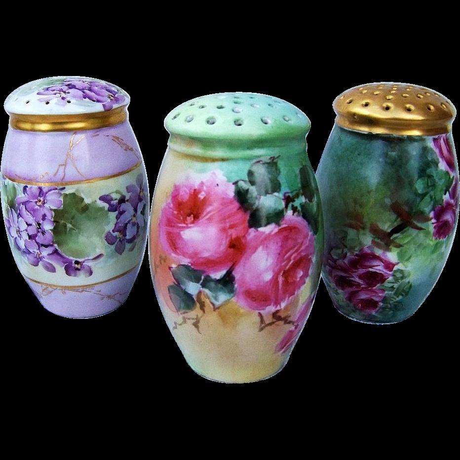 "Vibrant & Attractive Bavaria 1900's Hand Painted ""Deep Pink Roses"" 4-3/4"" Sugar Shaker"