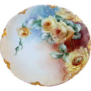 "Gorgeous Haviland France 1900's Hand Painted Vibrant ""Yellow Roses"" Plate"
