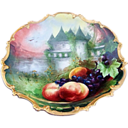 "15-7/8"" Gorgeous Limoges France 1900's Hand Painted ""Scenic Castle & Fruit"" Rococo Charger by the Outstanding French Artist, ""A. Soustre"""