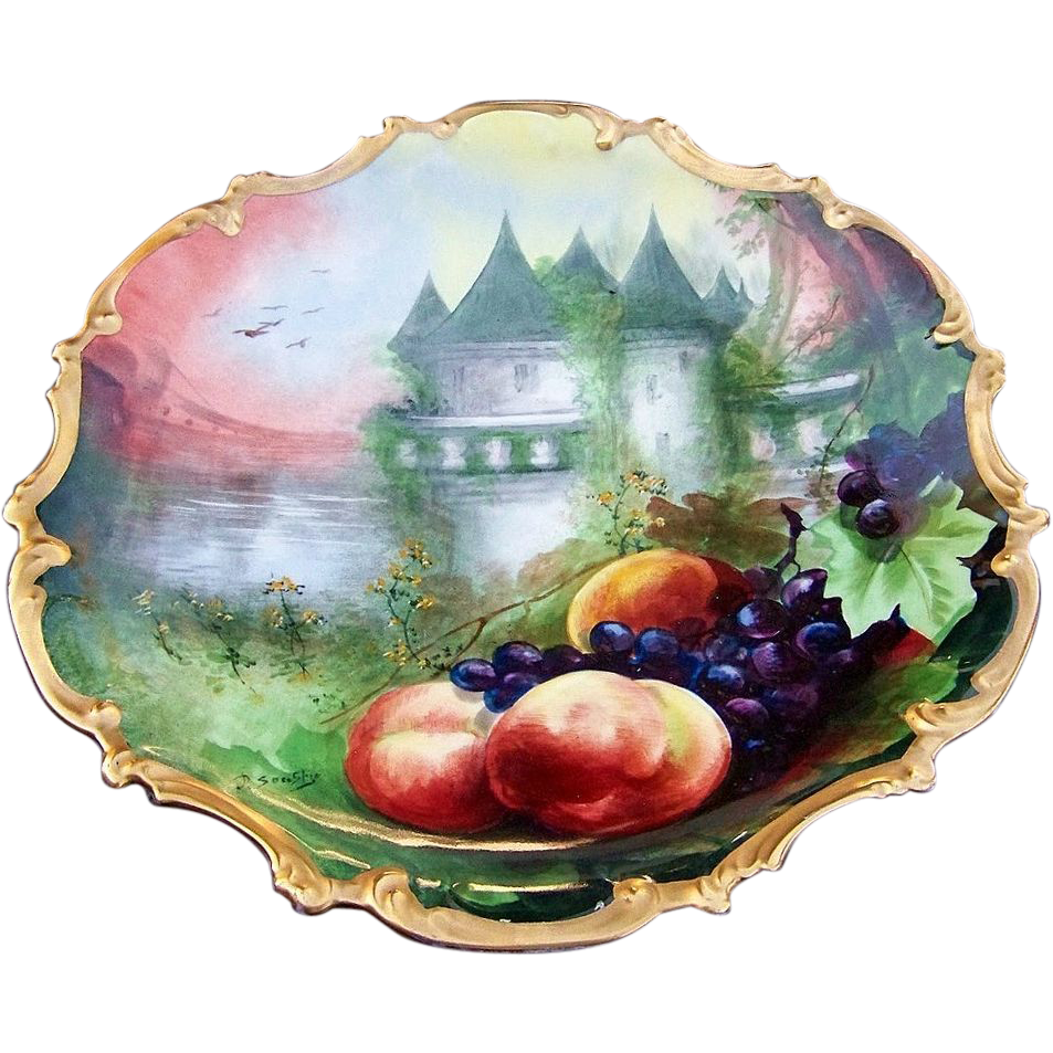 "50% OFF  15-7/8"" Gorgeous Limoges France 1900's Hand Painted ""Scenic Castle & Fruit"" Rococo Charger by the Outstanding French Artist, ""A. Soustre"""