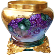 """Fabulous Vintage Limoges France 1900's Hand Painted """"Deep Purple Violets"""" On Heavily Gilded Gold Floral Jardiniere"""