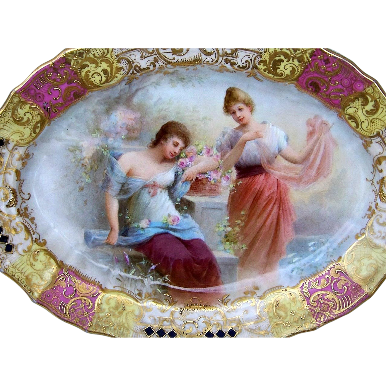"Exquisite Royal Vienna 1900's Hand Painted Scenic ""Dreaming Woman in the Garden"" 10"" 4-Footed Tray by the Artist, ""Seler"""