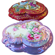 "Fabulous Vintage Limoges France 1900's Hand Painted Vibrant ""Red & Pink Roses"" 8"" Fancy Scallop Floral Dresser Casket Box by the Artist, ""A.E. Williams"""