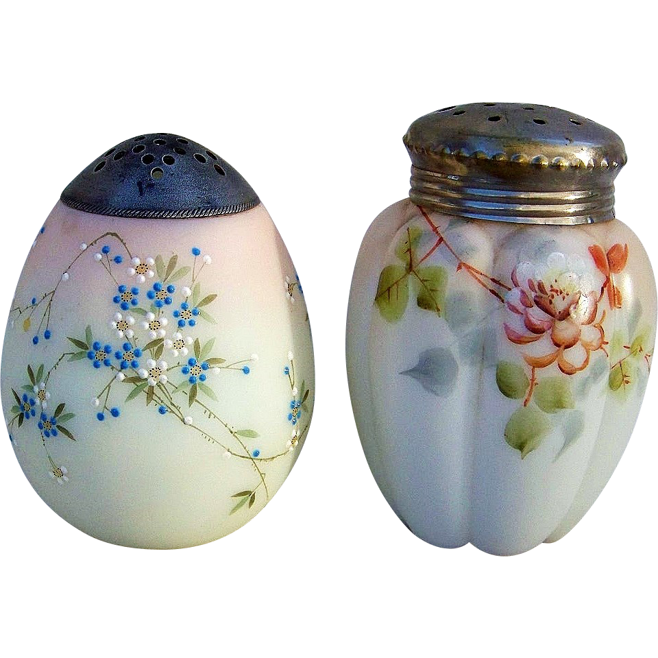 "Attractive Mt. Washington Hand Painted 1880's Melon Shaped Floral Designed Satin Glass 4-1/2"" Sugar Shaker Muffineer"