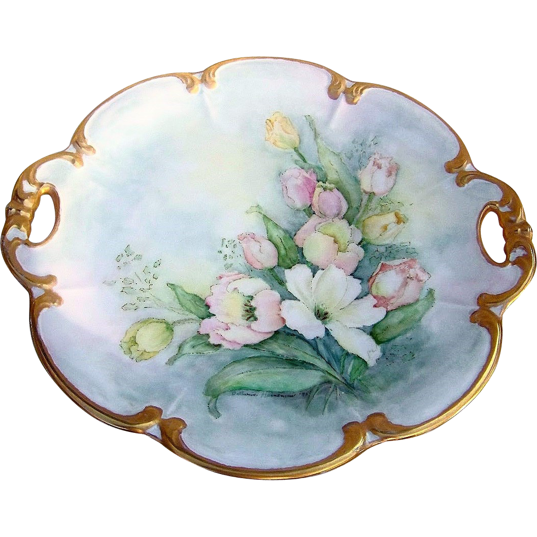 "Beautiful Hutschenreuther Bavaria Germany 1900's Hand Painted ""White, Pink & Yellow Roses"" 13-3/8"" Rococo Style Charger by the Artist, ""Catherine Heineman"""