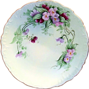 "Gorgeous Bavaria 1915 Hand Painted ""Pink & Purple Pansy"" 8-3/4"" Floral Plate by the Listed Chicago Artist, ""Mary Gray"""