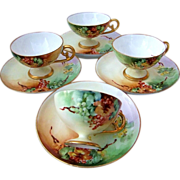 "Exceptional Bavaria 1915 Hand Painted ""Red Currant"" Set of 4 Demitasse Cups & Saucers by Early Chicago Artist, ""Ida Sommer"""