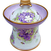 "Lavishly Decorated Bavaria 1900's Hand Painted ""Violets"" Floral Humidor by the Chicago Decorator ""William Stevenson"""