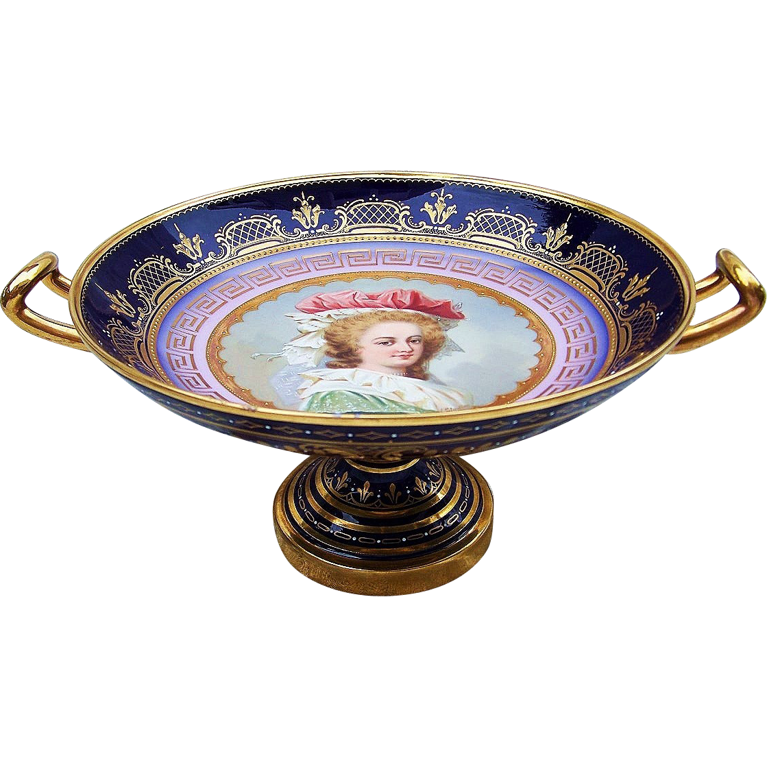 "Incredible Royal Vienna 1900 Hand Painted Portrait of ""Marie Antoinette"" 10-3/4"" Pedestal Tazza by the Artist, ""H. Stadler"""