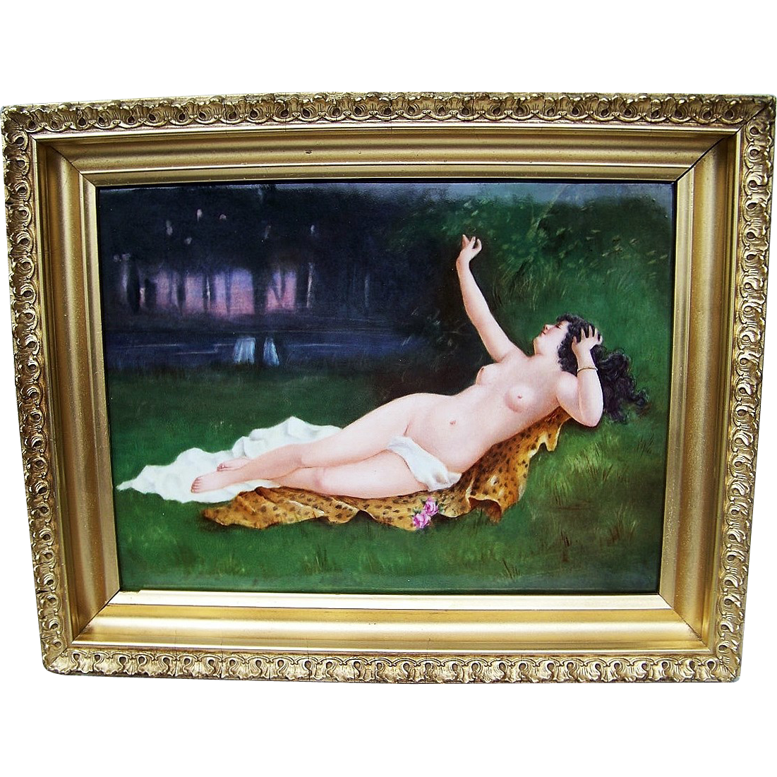 "Museum Quality D & Co. France Limoges 1900's Hand Painted ""Reclining Nude On A Leopard Skin"" 14-1/2"" x 11-1/2"" Plaque"