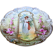 "Scare RS Prussia 1900's Keyhole ""Charmer"" 9"" Roses Plate"