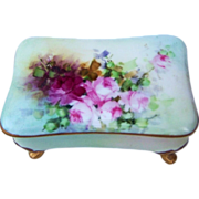 "Gorgeous P.L. Limoges France 1900's Hand Painted ""Deep Red & Pink Roses"" Footed Dresser Box"