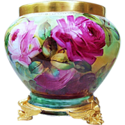 """Gorgeous B & Co. France Limoges 1900's Hand Painted Vibrant """"Red, Pink, & Yellow Roses"""" 9"""" Jardiniere by the Artist, """"Edward"""""""