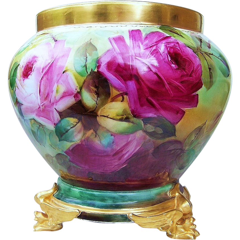 "Gorgeous B & Co. France Limoges 1900's Hand Painted Vibrant ""Red, Pink, & Yellow Roses"" 9"" Jardiniere by the Artist, ""Edward"""