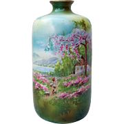 """Gorgeous Vintage RS Prussia 1900's Scenic """"Sheepherder"""" 6"""" Vase"""