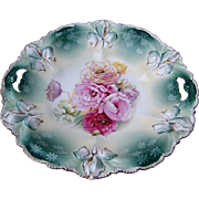 "Beautiful RS Prussia 1900's ""Red, Pink, Lavender, & White Roses"" 11-1/4"" Iris Mold Floral Plate"