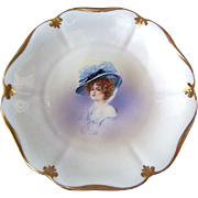 """RS Prussia 1900's """"Gibson Girl"""" 7-7/8 Scallop Portrait Plate"""