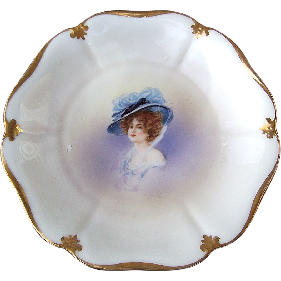 "RS Prussia 1900's ""Gibson Girl"" 7-7/8 Scallop Portrait Plate"