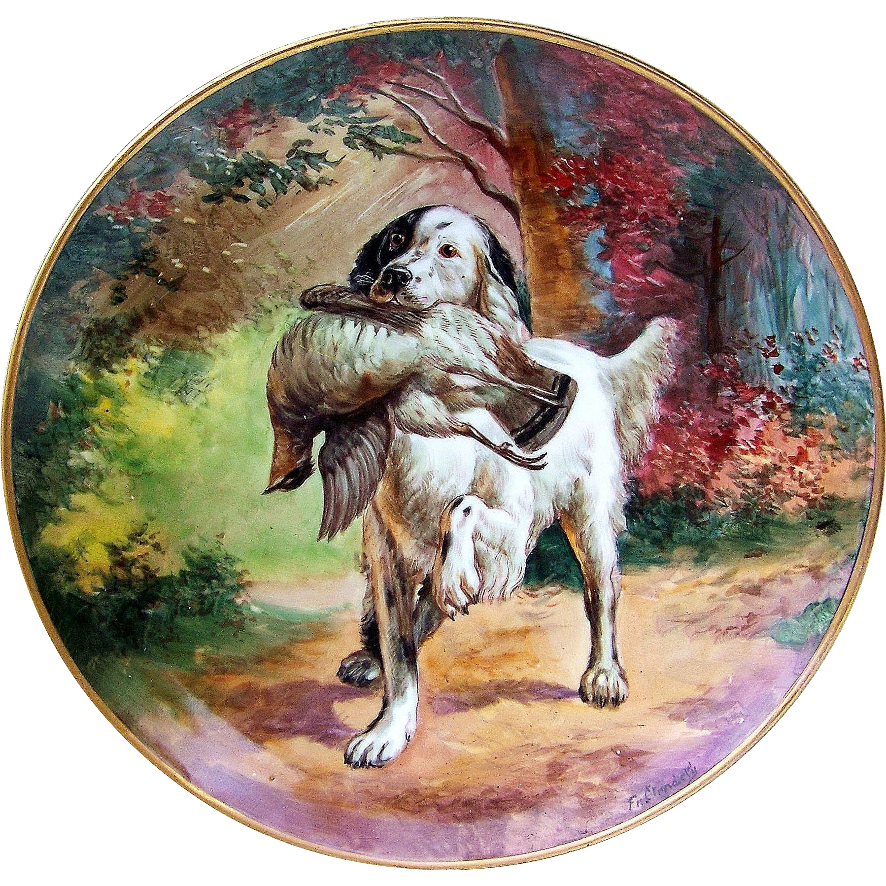 "Exquisite & Exceptional 1900's Germany Hand Painted Scenic ""Hunting Dog & Grouse"" 12"" Charger by Pickard Artist, ""F. Cirnacty"""