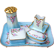 "Gorgeous T & V Limoges France & RS Prussia 1900's Hand Painted ""Pink Roses"" 7 Pc. Floral Dresser Set by the Artist, ""A.S.W."""