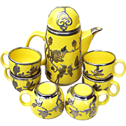 """Exquisite Silver Overlay Vintage Germany 1920-30's Art Deco """"Birds & Floral Decor"""" 8 Pc Fine Crafted Tea Set - Red Tag Sale Item"""