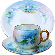 """Beautiful Bavaria 1900's Hand-Painted """"Forget Me Not"""" Matched Cup, Saucer, & Lunch Plate Set"""