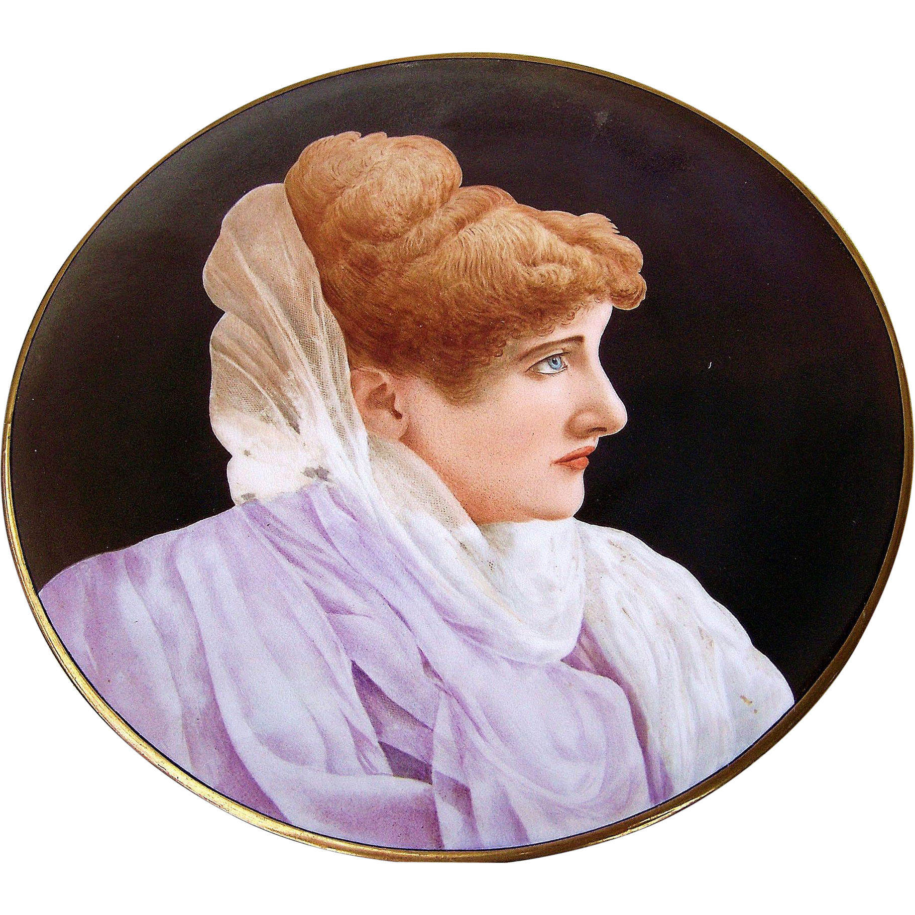 "Beautiful France Pre-1900 Hand Painted Portrait of A Lady 9"" Plate"