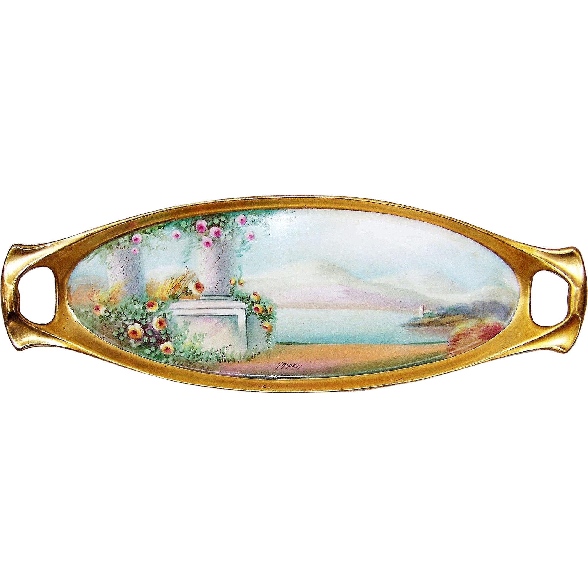 "Outstanding 16"" Pickard Studio of Chicago 1912 Hand Painted ""Italian Garden"" Tray by the Artist, ""Paul Gasper"""