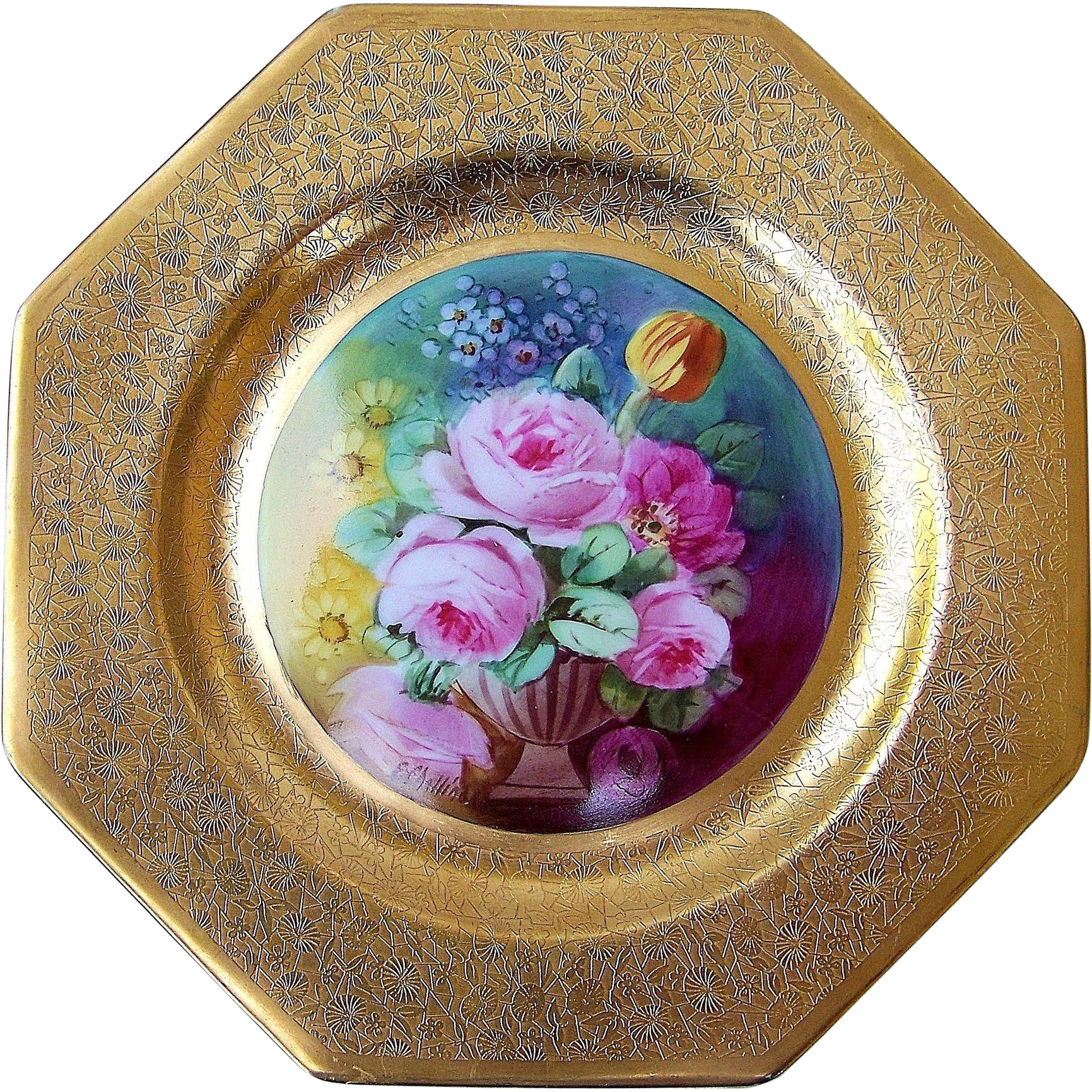 "Beautiful Pickard Studio of Chicago 1912 Hand Painted ""Red & Pink Roses With Daisies"" 6-Sided 9"" Plate by the Artist, ""Edward Challinor"""