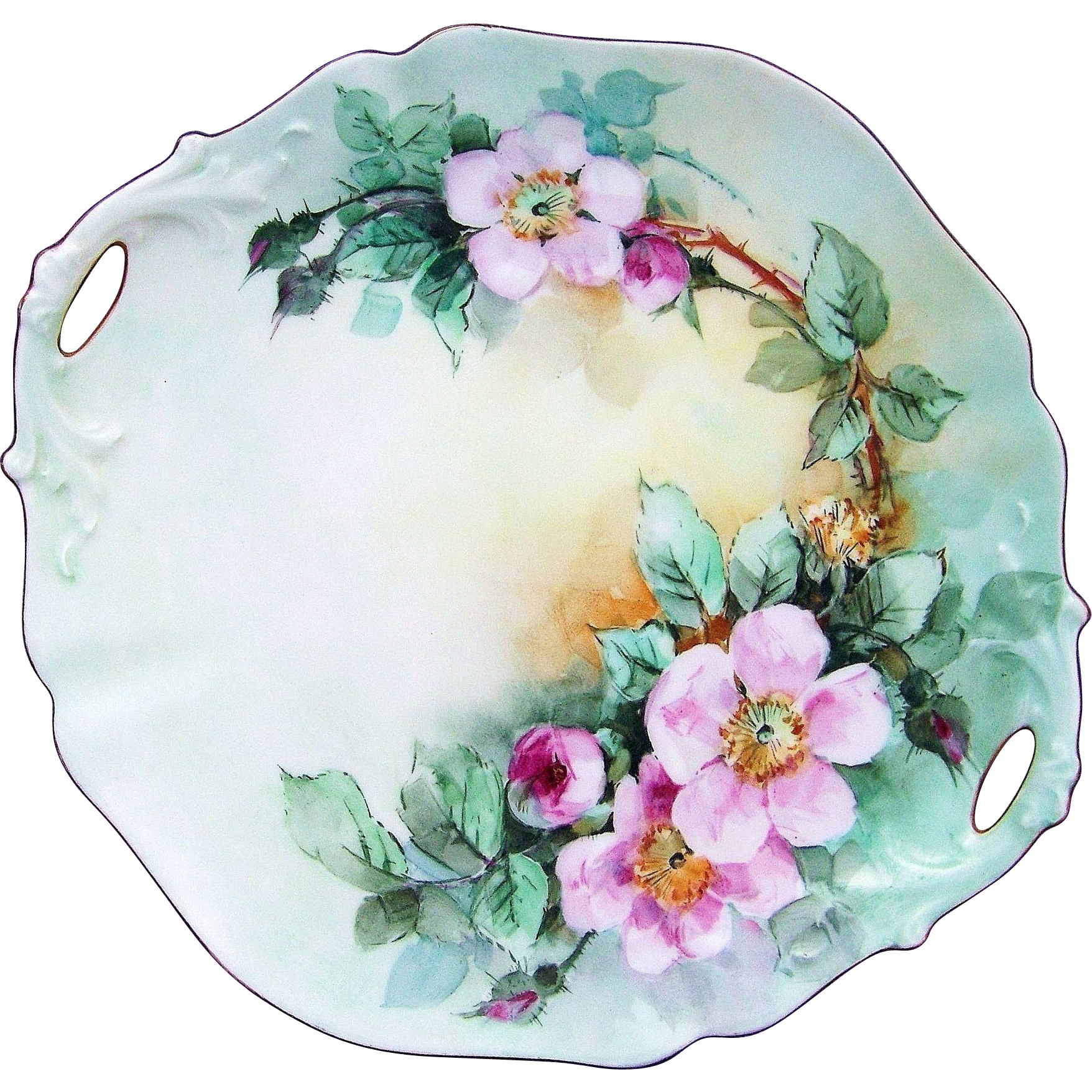 "Gorgeous D & Co. France Limoges 1900's Hand Painted ""Wild Pink Roses"" 11"" 2-Handle Plate by the Artist, ""L. Smith"""