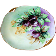 "Attractive Omhe Silesia 1900's Hand Painted ""Plums"" 10-1/2"" 2-Handle Fruit Plate by the Artist, ""E. Kuichliohn"""