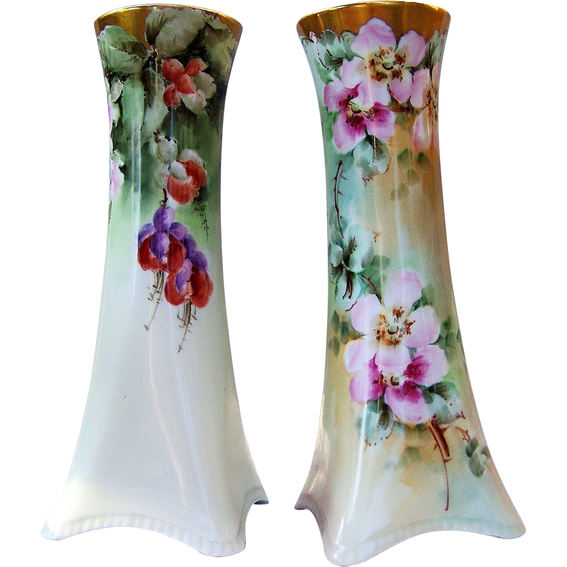 "Beautiful H & Co. Selb Bavaria 1915 Hand Painted ""Red Bleeding Heart & Wild Pink Roses"" 10-1/2"" Vases by Early Chicago Artist, ""Ida Sommer"""