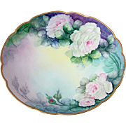 "Gorgeous PL Limoges France 1900's Hand Painted ""Pink & White Roses"" 8-3/4"" Plate by the Artist, ""M.D. Chandler"""