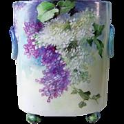 """Fabulous Vintage William Guerin Limoges France 1900's Hand Painted """"Purple & White Lilacs"""" 9-5/8"""" Floral Cache Pot"""