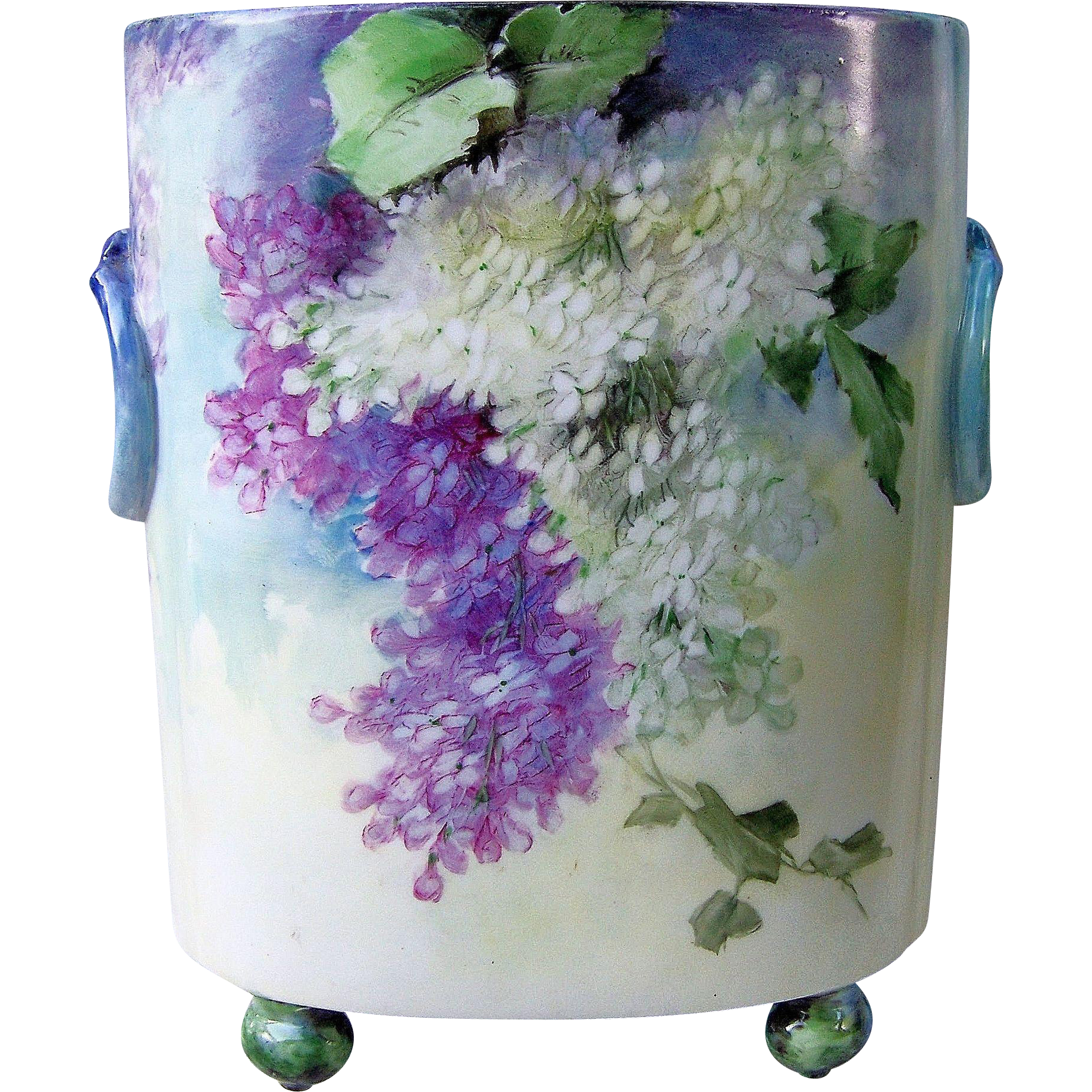 "Fabulous Vintage William Guerin Limoges France 1900's Hand Painted ""Purple & White Lilacs"" 9-5/8"" Floral Cache Pot"