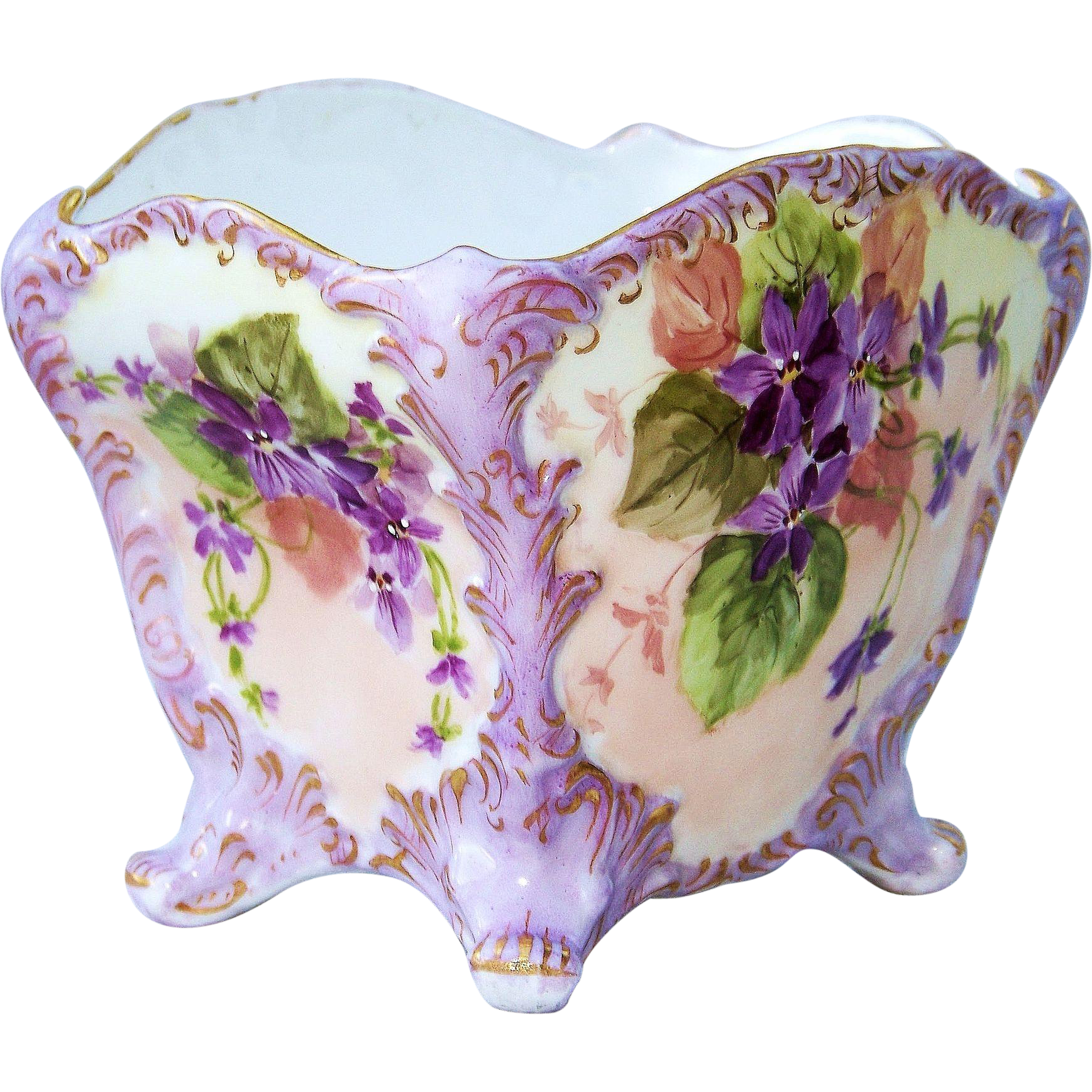 "Outstanding Vintage Leonard Vienna Austria 1900's Hand Painted ""Violets"" Floral Footed Jardiniere"
