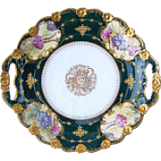 """Exquisite 11-7/8"""" Coronet Limoges France 1900's Hand Painted """"Wild Flowers"""" in Relief 2-Handle Plate"""